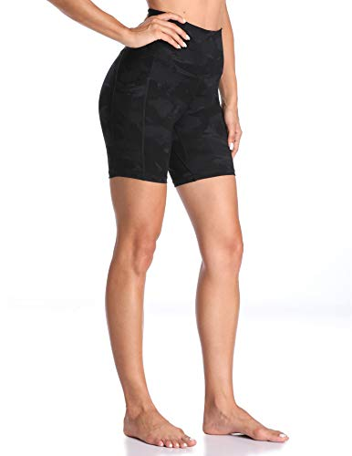 "Colorfulkoala Women's High Waisted Yoga Shorts with Pockets 6"" Inseam Workout Shorts (M, Deep Grey Splinter Camo)"