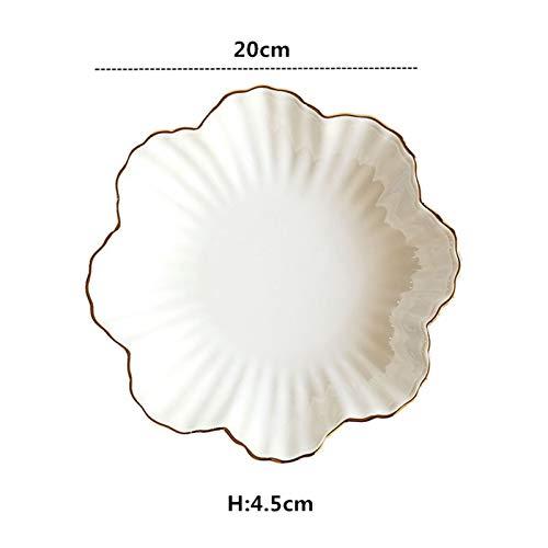 Platos llanos 8 pulgadas Forma de flores Borde dorado Placa de cerámica Nórdico Floral Blanco Porcelana Cena de cena Sopa Ensalada Cuenco Postre vajilla Juego de platos blancos para cena ( Color : C )