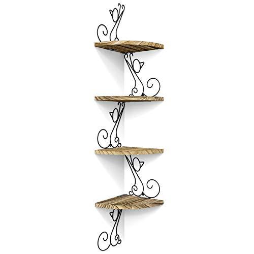 Alsonerbay Estantería esquinera de pared vintage de madera maciza, forma de gato, estantería flotante para salón, dormitorio, cocina, oficina, 4 estantes, color marrón