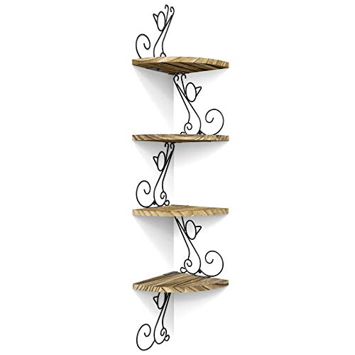 Alsonerbay Corner Shelf Wall Mount of 4 Tier Corner Shelves Rustic Wood Floating Shelf Cat Shape Metal Corner Stand for Bedroom Living Room Bathroom Kitchen Office and More Carbonized Black
