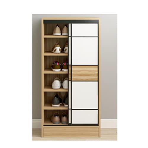 QIFFIY Armario para puerta corredera con entrada de puerta de madera maciza multicapa zapatero de gran capacidad (color: nogal claro)