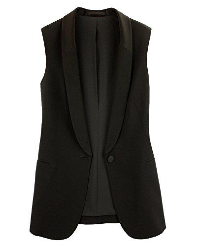 LaoZanA Mujer Elegante Chalecos Gasa Sin Mangas del Trajes Y Blazers Chaqueta Outwear Casual Top Negro M