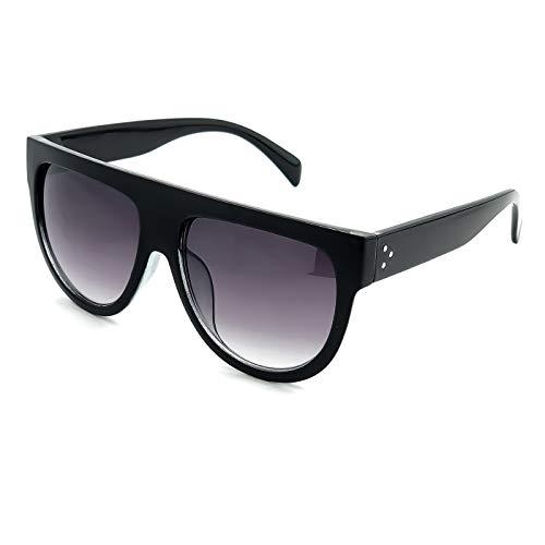KISS Gafas de sol Flat Top mod. CRAZY HORNY - oversize vintage MUJER fashion 50s 60s - NEGRO