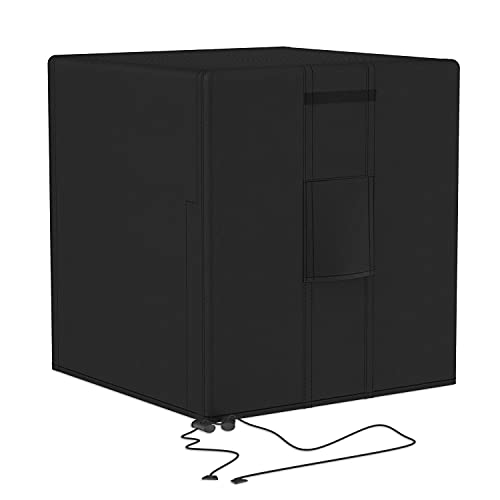BROSYDA Central Large Air Conditioner Cover for Outside Units Water/Windproof Anti-Dust Heavy Duty Outdoor AC Unit Cover Black (36x36x39 Inch)