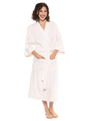Terry Cloth Bathrobe Robe for Women Christmas Gift Ideas Presents for Mom Wife Girlfriend Xmas Holiday Gifts - Women's 0050 L/XL, White