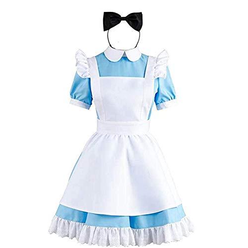 Fotografía Cosplay Disfraz Vainilla Chocolate Maid Delantal Lolita Vestido gótico Lindo Falda Traje,M