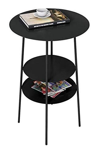 TXOZ - Mesa auxiliar, mesa de café de 3 pisos, pequeña y redonda, mesita de noche con estante para salón o dormitorio, 2 colores, 16 × 24 pulgadas, soporte para tableta (color: negro)