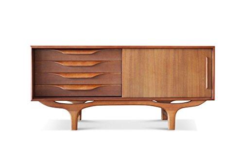 Scandinavisch houten buffet Alrik - Massief hout, Teak hout | Een volledig houten dressoir met vintage Scandinavische lijnen in rondingen en tegenwelvingen - Oranjebruin (L140 x H65 x P50 cm)
