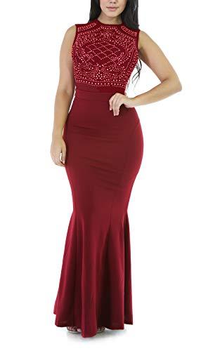 PRETTYGARDEN Women's Long Fitted Beading Sleeveless Mermaid Evening Gown Dress Red
