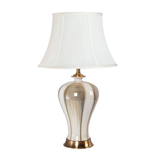 Lampe de Table en céramique à LED, Abat-Jour Lampe de Table rétro Salon Chambre Bureau Bureau Lampe de Chevet Tissu Abat-Jour E27 Blanc (Taille : Push Button)