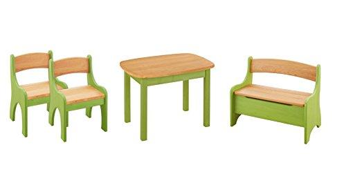 BioKinder 24792 Economy set Levin kinderzitgroep voor kinderen met tafel, bankje en 2 stoelen van massief houten elzenhout en grenenhout met groen glas.