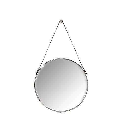 Kare design spiegel Hacienda Ø61cm, wandspiegel, make-upspiegel, badspiegel, hal, woonkamer, groot, rond, bruin, grijs, (H/B/D) 61x61x5cm (spiegeloppervlak), schuim