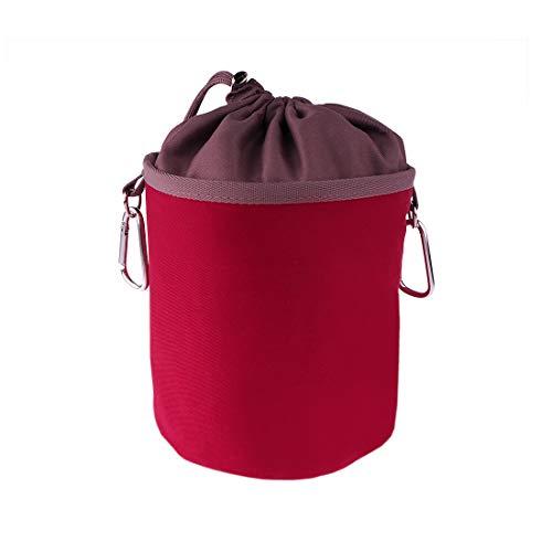 Bolsa portátil de 100% algodón con dos mosquetones resistentes, cierre de cordón y tope de metal para colgar y almacenar 150 pinzas de la ropa, color burdeos