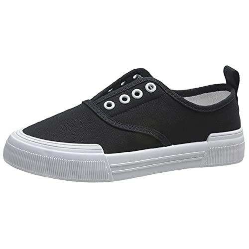 JXILY Zapatillas Lona Mujer Zapatos Casuales con Plataforma Unisexo Tenis Deporte Casual y Caminar Zapatillas Puntera Goma,Negro,36