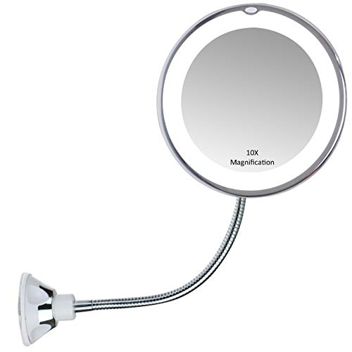 """VrHere Flexible Gooseneck 6.8"""" 10x Magnifying LED Lighted Makeup Mirror, Bathroom Vanity Mirror + Strong Suction Cup, 360 Degree Swivel, Daylight, Battery Operated, Cordless & Travel Mirror"""