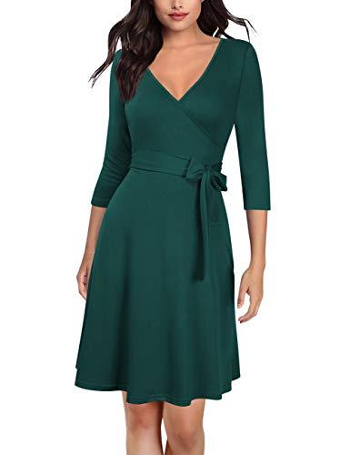 KOJOOIN Damen Kleid Business Kleid Knielang Wickelkleid, 3/4 Arm mit V-Ausschnitt und Gürtel Dunkelgrün S(Verpackung MEHRWEG)