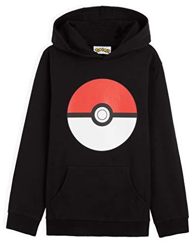 Pokémon Sweat Enfant Poke Ball, Pull Enfant ou Ado Garçon ou Fille 4 à 15 Ans, Sweats À Capuche Coton, Idée Cadeau pour Gamer (Noir, 9-10 Ans)