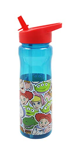 Disney Girls Toy Story 600ml PP Water Bottle with Straw for Kids-Official Merchandise by Polar Gear Drinking School Nursery Sports Picnic BPA Free, Multi Coloured