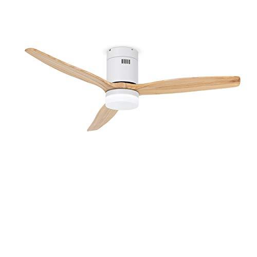 CREATE IKOHS WINDCALM DC STYLANCE WHITE - Ventilador de Techo con Luz,Silencioso,3 Aspas,Mando a Distancia,132 cm de Diámetro,6 Velocidades,Temporizador,Aspas de Madera, Motor DC, 40W (Madera Natural)
