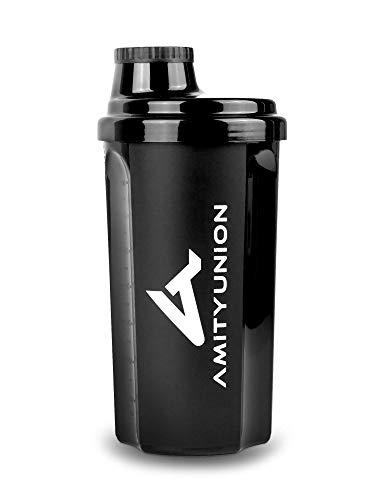 """Protein Shaker 700 ml """"Heaven"""" auslaufsicher, BPA frei mit einklickbarem Sieb & Skala für Cremige Whey Shakes, Gym Fitness Becher für Isolate & Sport Konzentrate, Eiweiß Shaker, Original in Schwarz"""