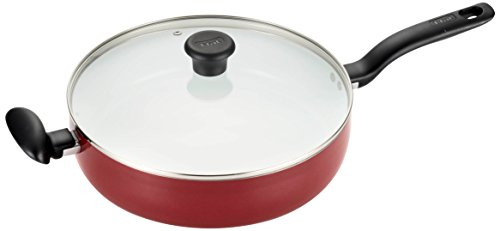 T-fal C91482 Initiatives Nonstick Ceramic Coating PTFE PFOA and Cadmium Free Scratch Resistant Dishwasher Safe Oven Safe Jumbo Cooker Fry Pan Cookware, 5-Quart, Red