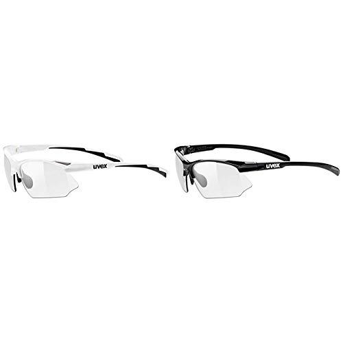 Uvex Unisex– Erwachsene Sportstyle 802 Vario Sportbrille, White + Black/Smoke, Einheitsgröße