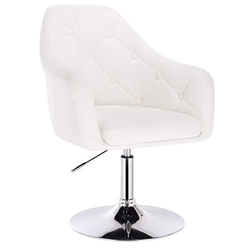 WOLTU® BH104ws 1x Barsessel Loungesessel, stufenlose Höhenverstellung, verchromter Stahl, Kunstleder, gut gepolsterte Sitzfläche mit Armlehne und Rücklehne, Weiß