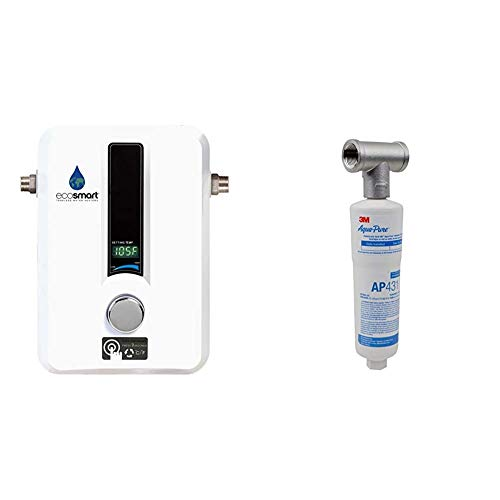 EcoSmart ECO 11 Electric Tankless Water Heater, 13KW at 240 Volts with Patented Self Modulating Technology & 3M Aqua-Pure Whole House Scale Inhibition Inline Water System