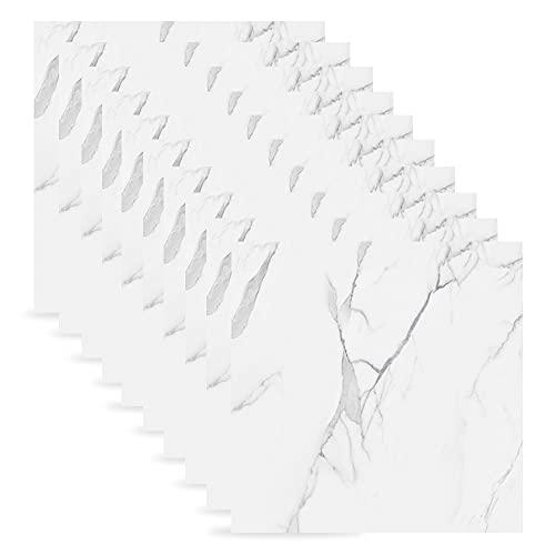 10 azulejos autoadhesivos de mármol para el suelo, de PVC, para baño, cocina, salón, dormitorio, 30 cm x 30 cm (8517)