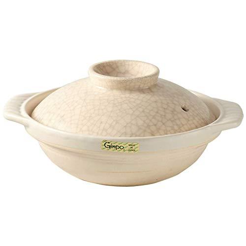 XBR Profession Japanese Hot Can Low Ceramic Cazuela con Tapa Cazuela con Tapa Cazuela aislada Cazuela de cerámica Arcilla Olla de arroz Lata Beige Estofado Lata A