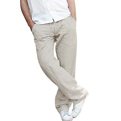 Xniral Herren Einfarbig Latzhose Große Größe Freizeithosen Chino-Hose Elastische Taille Lose Breite Bein Hosen Jogginghose(Grau,L)
