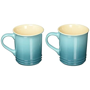 Le Creuset of America Stoneware Set of 2 Mugs, 12-Ounce, Caribbean