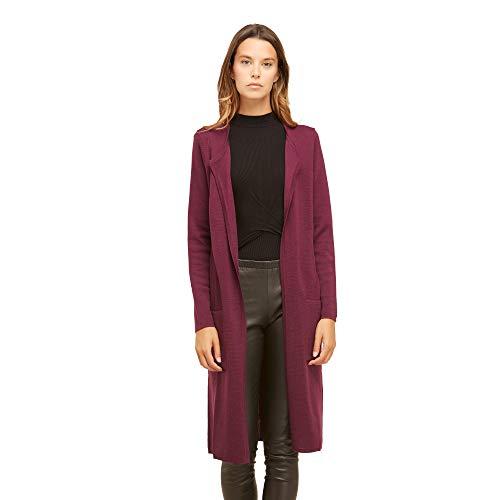Dames lang vest van 100% extra fijne merino wol Vrouw zonder sluiting met zijzakken Kleur bleuw marine paarse