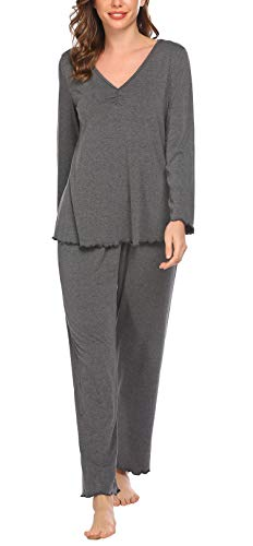 Pinspark Damen Lang Elegant Pyjama Weich Set V-Ausschnitt Basic Zweiteiliger...