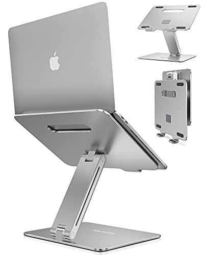 AboveTEK Laptop Stand, Adjustable Portable Computer Riser, Ergonomic Aluminum Notebook Desktop Holder for Desk, Compatible with MacBook Pro, Air, HP, Fits Up to 17 Inch Laptops, Silver