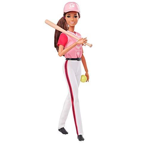 Barbie GJL77 Berufe Sport Softball Baseball Puppe, Geschenk und Spielzeug ab 3 Jahren