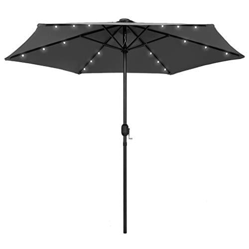 Gototop - Paraguas para exteriores con barra de aluminio y 6 varillas de acero para patio, camping, tiendas, decoración de vallas, 270 x 236 cm, color antracita