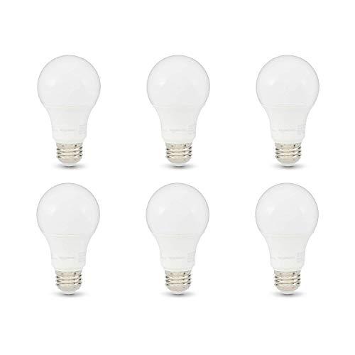 AmazonBasics 75W Equivalent, Soft White, Dimmable, 10,000 Hour Lifetime, A19 LED Light Bulb | 6-Pack