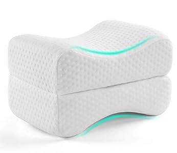 AMERIERGO Almohada de espuma viscoelástica para rodillas, Espalda, Caderas, Alivio para el dolor de piernas, adecuada para personas que duermen de lado, mujeres embarazadas