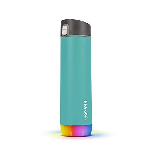 Hidrate Spark - Botella de Agua Inteligente de Acero, rastrea el Consumo de Agua y Brilla para recordarte Que te Mantengas hidratado, Chug, 21 oz, Azul Verdoso Sea Glass
