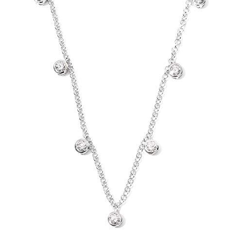 J Francis Station Necklace Made with Swarovski Zirconia for Women in Platinum Plated 925 Sterling Silver Size 18 Inches, TCW 3ct