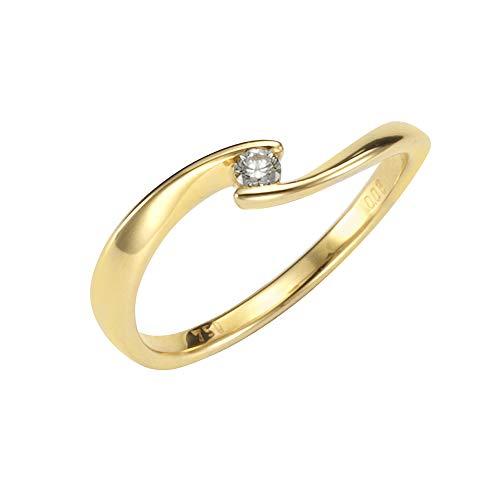 Orolino Damen Ring 750/- Gold Glänzend Brillant gelb 0.06 Karat 067370084-2