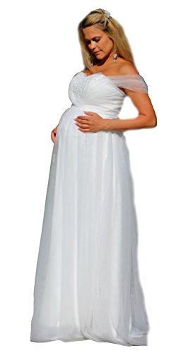 Brautkleid Traum Hochzeitskleid A-Linie Umstandskleid Weiß Ivory Spitze 34-54 (38, Ivory)