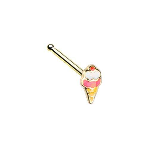 Pierced Owl 20G Stainless Steel Tiny Ice Cream Cone Nose Bone Stud (Gold Tone)