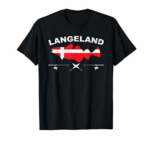 Langeland Angeln Dänemark Flagge Pilker Kabeljau Ostsee T-Shirt