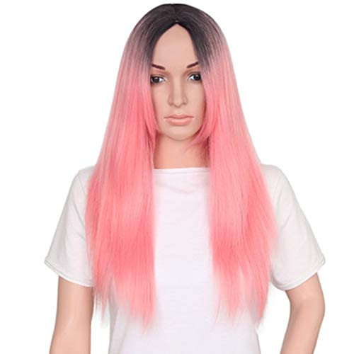 Pruik Lang steil haar pruik Vrouwen lang steil haar, rood, roze pruik synthetisch haar pruik (Color : B)