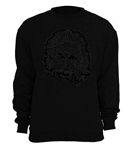 RaMedia Albert Einstein Scientist Genius Black Artwork Unisex-Sweatshirt XX-Large