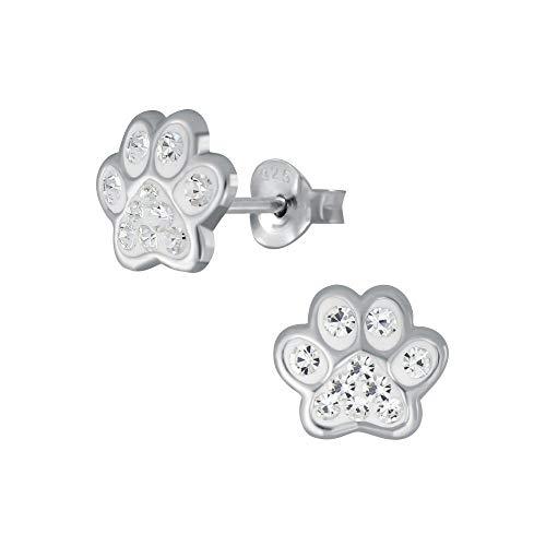 Laimons Pendientes para niñas y niños, joyas para niños, diseño de huellas de perro, con purpurina en color blanco, 7 mm, pequeños de plata de ley 925