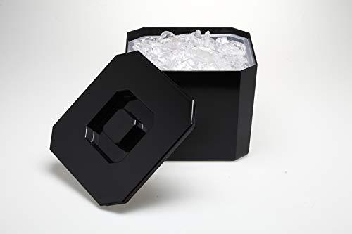 Barcrafters Eiswürfelbehälter mit Deckel Eisbox Ice Box 4 Liter Eisbehälter Kunststoff eckig Eiseimer schwarz Kunststofff