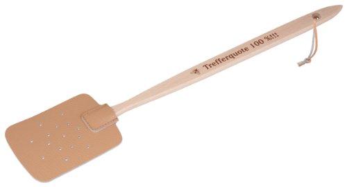 HOFMEISTER® Fliegen-Klatsche, Holz & Kunstleder, 47,5 cm, aus Europa, mit Spruch: Trefferquote 100%!!!, praktischer Mücken-Schläger zum Insekten fangen